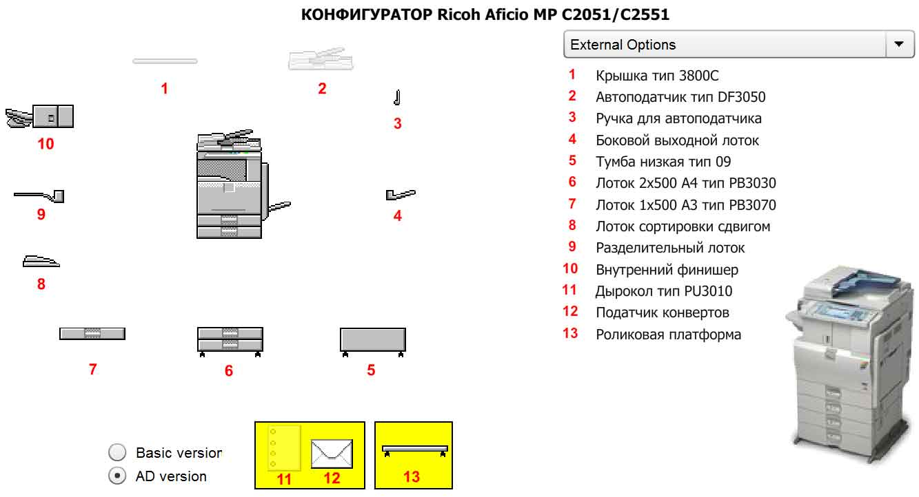 Конфигуратор Ricoh Aficio MP C2551